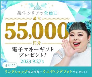 結婚式の費用がお得になるハナユメ割が使えます★最大3万円の商品券★が貰える