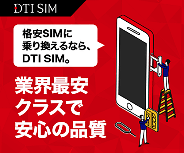 DTI SIM お試しプランデータSMS半年お試しプラン 3GB    990円