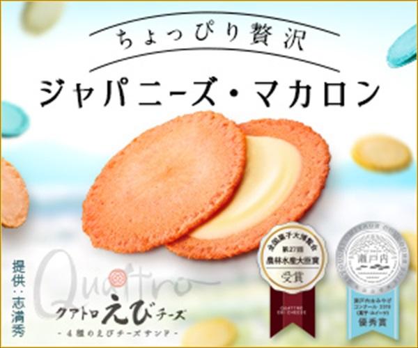 4種のチーズをサクサクの海老煎餅でサンドした マカロンのような和スイーツ♪
