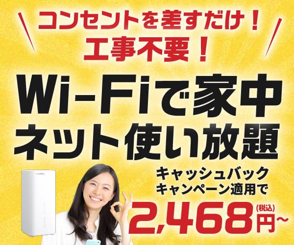 工事不要でネット使い放題!月々950円から!【SoftbankAir】